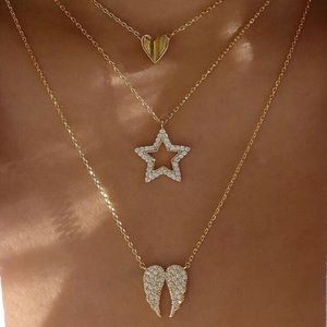 Jewelry - Rhinestone Heart Star Wings Layered Necklace Gold